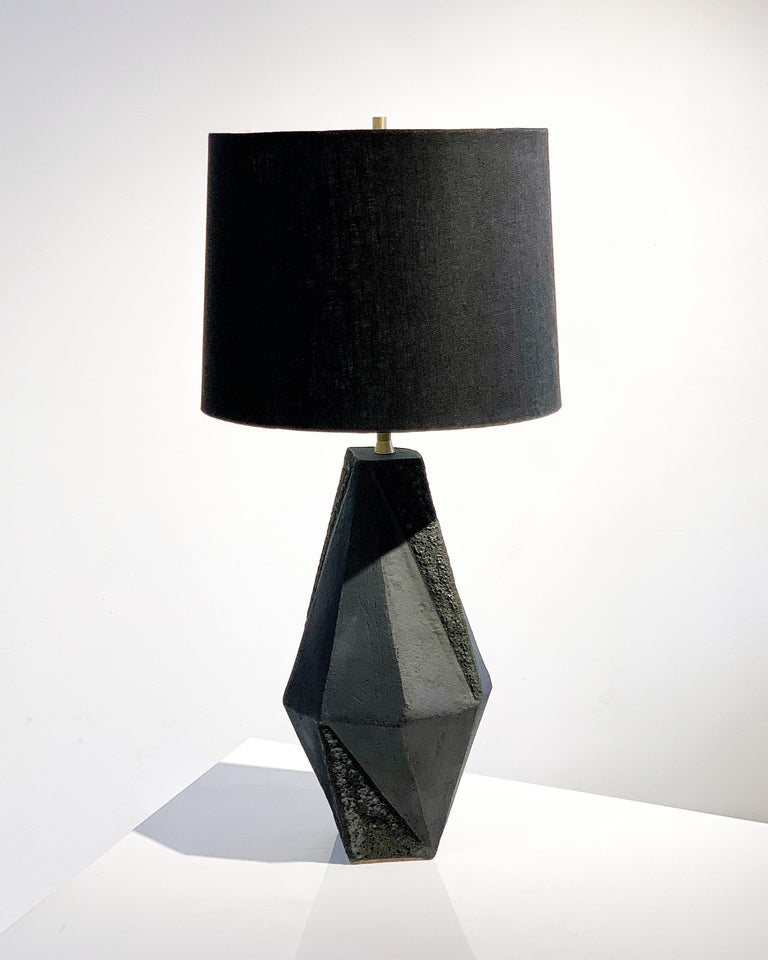 American 'Warp' Small Geometric Matte and Textured Black Ceramic Table Lamp For Sale