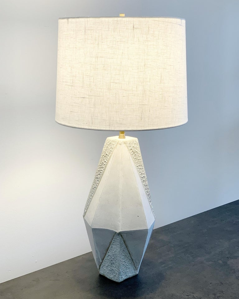 Modern 'Warp' Small Geometric Matte and Textured White Ceramic Table Lamp For Sale
