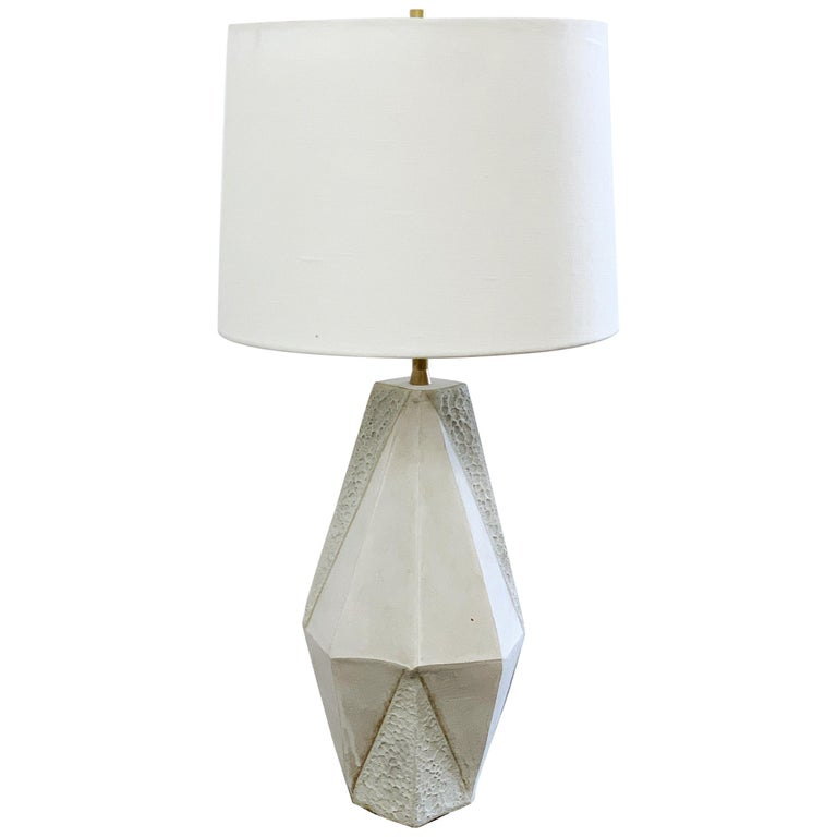 'Warp' Small Geometric Matte and Textured White Ceramic Table Lamp For Sale