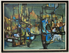 Warren Brandon Mid Century Modern Abstract Landscape C.1970