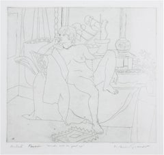 """Nude with Her Foot Up,"" Original Etching Portrait signed by Warren Brandt"