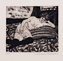 """Reclining Nude with Black Stocking,"" Original Etching signed by Warren Brandt"