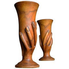 Warren Christian Pitcairn Island Carved Miro Goblets