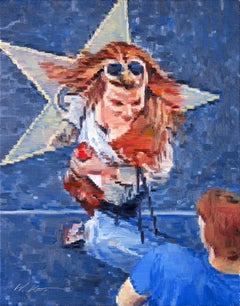 Blonde Taking Photo with Star on Hollywood Bouleva, Painting, Oil on Canvas