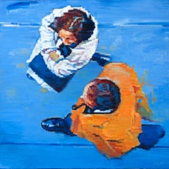Paris Couple in Orange and White, Oil Painting