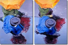 Umbrella and Hat in Paris Rain Diptych, Painting, Oil on Canvas