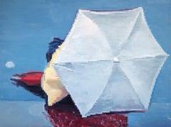 White Umbrella in Paris Rain, Painting, Oil on Canvas