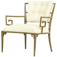 "Warren Lloyd ""Key Scroll"" Brass Lounge Chair for Mastercraft"