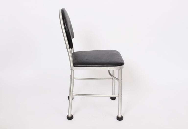 Admirable Warren Mcarthur Aluminum And Black Leather Side Chair 1930S Ncnpc Chair Design For Home Ncnpcorg