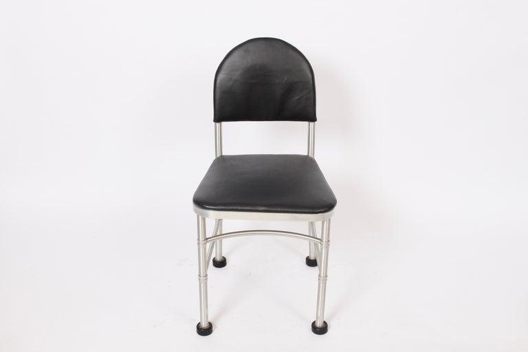 Art Deco Warren McArthur Aluminum and Black Leather Side Chair, 1930s For Sale