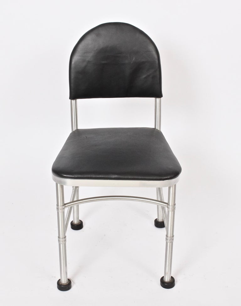 American Warren McArthur Aluminum and Black Leather Side Chair, 1930s For Sale