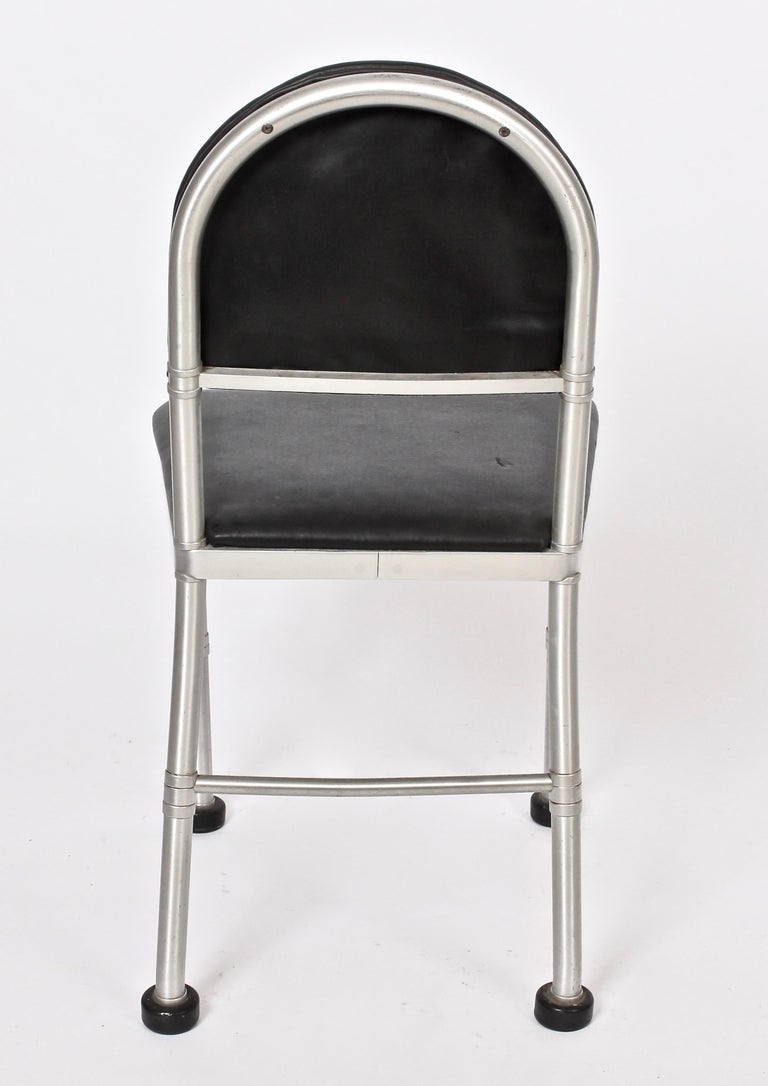 Warren McArthur Aluminum and Black Leather Side Chair, 1930s In Good Condition For Sale In Bainbridge, NY
