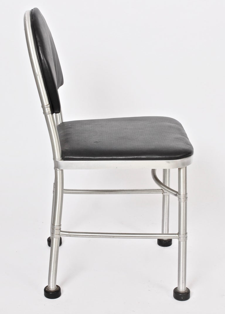 20th Century Warren McArthur Aluminum and Black Leather Side Chair, 1930s For Sale