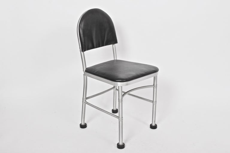 Warren McArthur Aluminum and Black Leather Side Chair, 1930s For Sale 1
