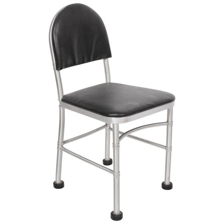 Warren McArthur Aluminum and Black Leather Side Chair, 1930s For Sale