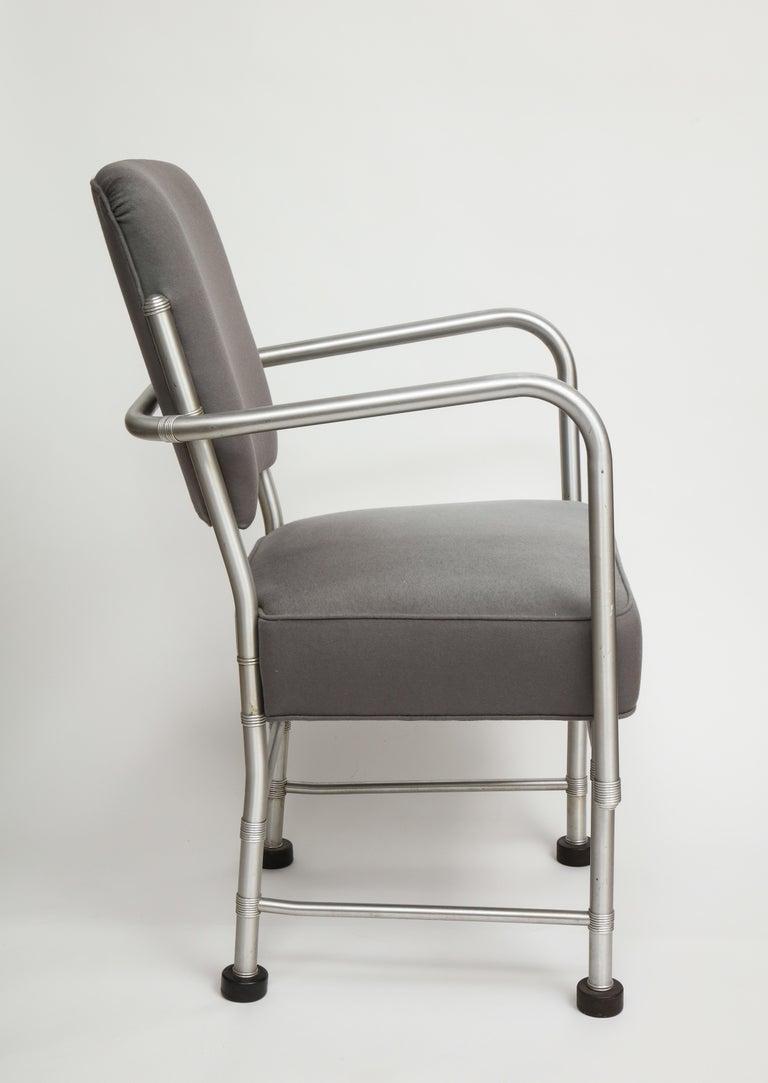 Warren McArthur Art Deco Machine Age Aluminum Armchair, 1940s For Sale 1