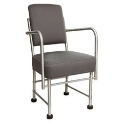 Warren McArthur Art Deco Machine Age Aluminum Armchair in Grey Wool, 1930s