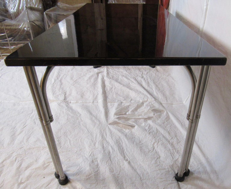 Warren McArthur Library Work Table Stainless Steel, circa 1935 In Good Condition For Sale In Camden, ME