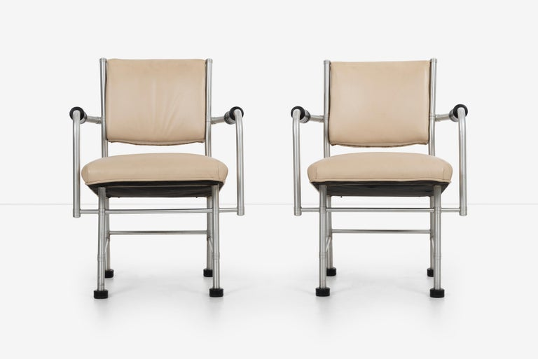 Warren McArthur pair of chairs a Revision of Sardi's chair, a collaboration with Rudolph Schindler.  Model #1251 AR manufactured in Rome, New York in the 1930s McArthur incorporated rubber foot pads as arm rests.