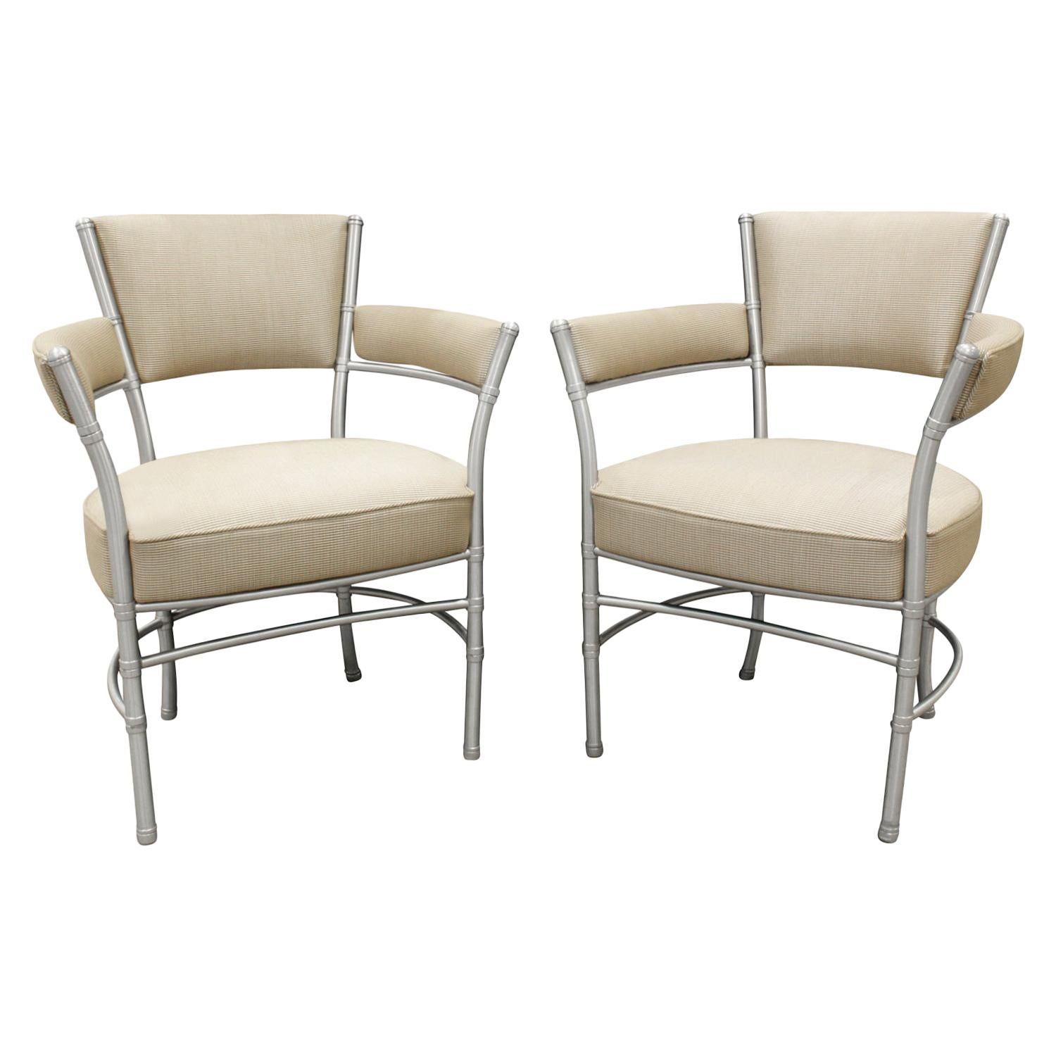 Warren McArthur Pair of Lounge Chairs in Tubular Aluminum, 1930s 'Signed'