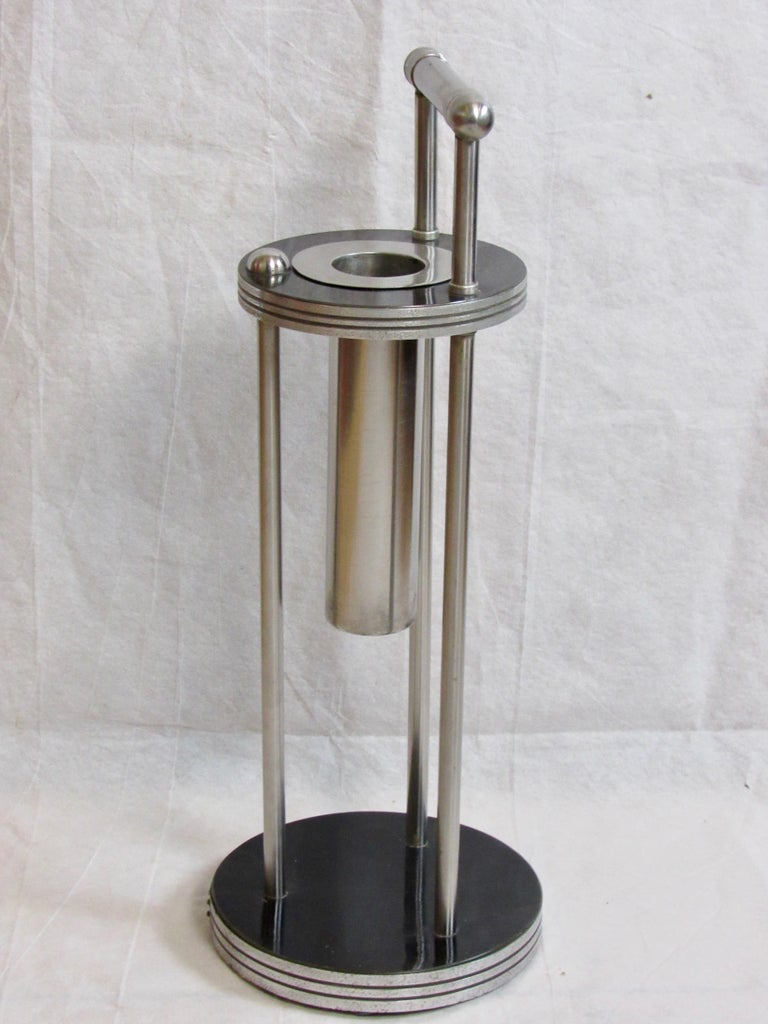 American Warren McArthur Stainless Steel Smoking Stand, 1934-1935 For Sale
