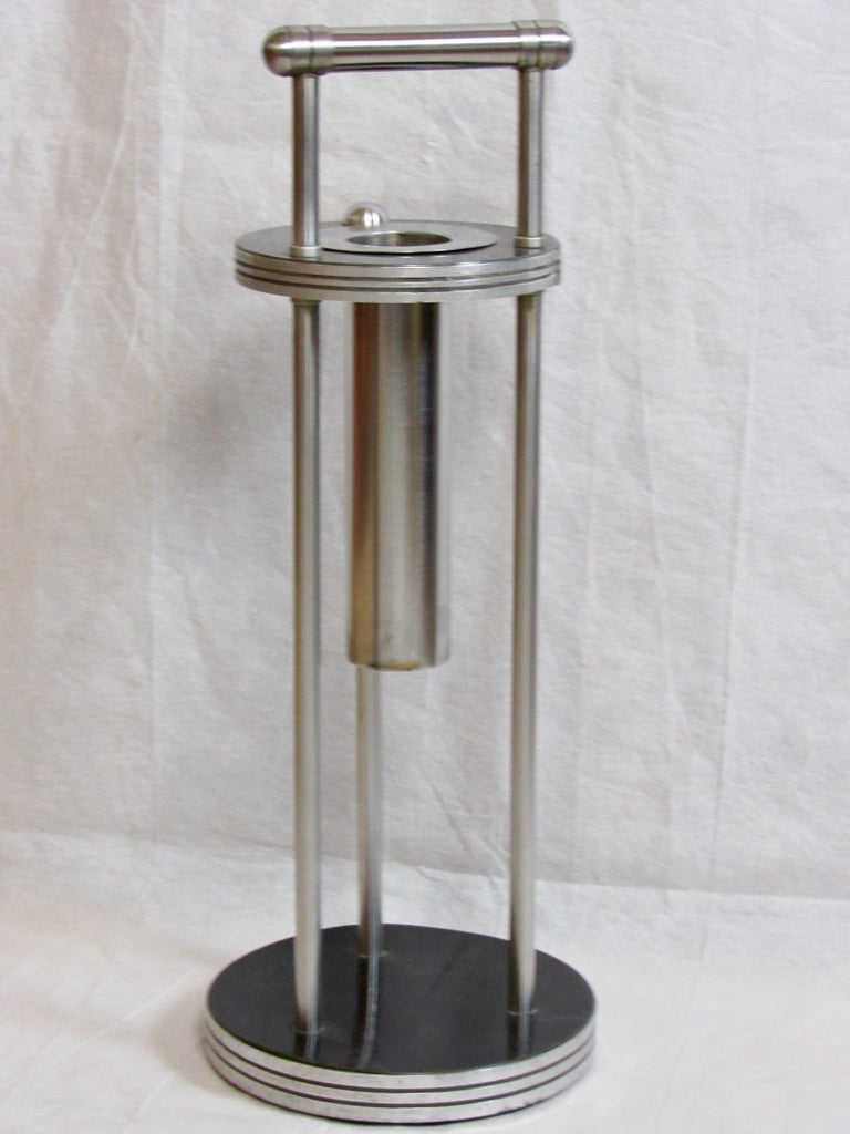 Laminated Warren McArthur Stainless Steel Smoking Stand, 1934-1935 For Sale
