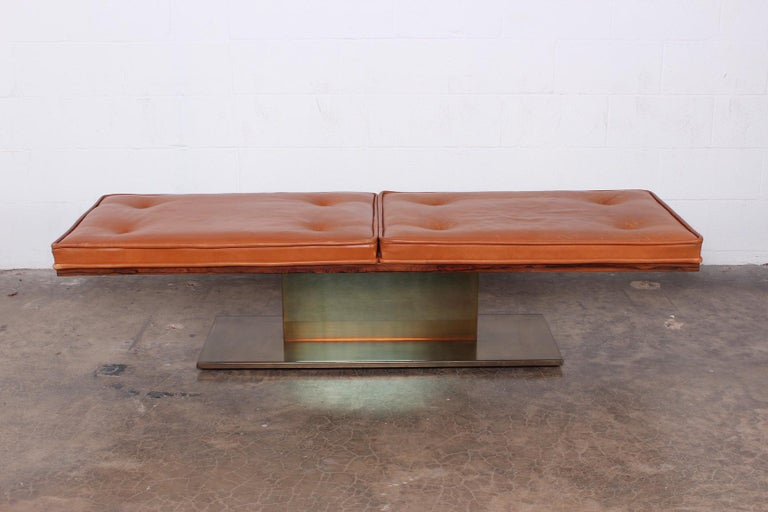 A rare bronze and leather bench designed by Warren Platner for Lehigh Leopold. Pair available.