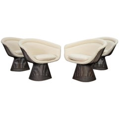 Warren Platner Bronze Lounge Chairs in Knoll Boucle