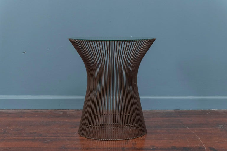 Walter Platner design bronze finish side table for Knoll with a new glass top.