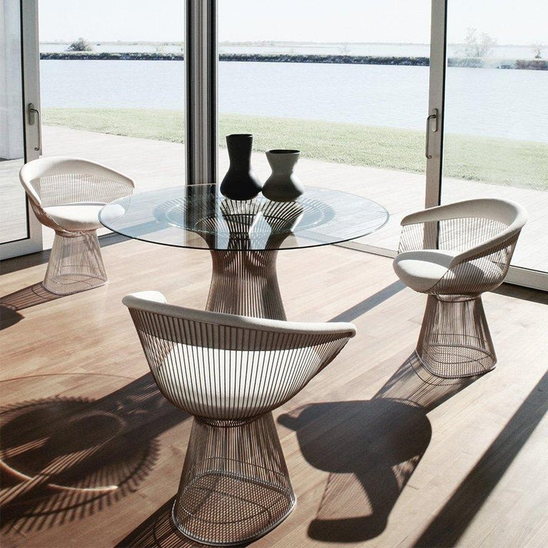 """Warren Platner Collection dining table base , Polished Nickel, Knoll, 1966.  In 1966, the Platner Collection captured the """"decorative, gentle, graceful"""" shapes that were beginning to infiltrate the modern vocabulary. The iconic dining table, which"""