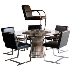 Warren Platner Dining Table & 6 Brno Chairs by Mies van der Rohe by Knoll Studio