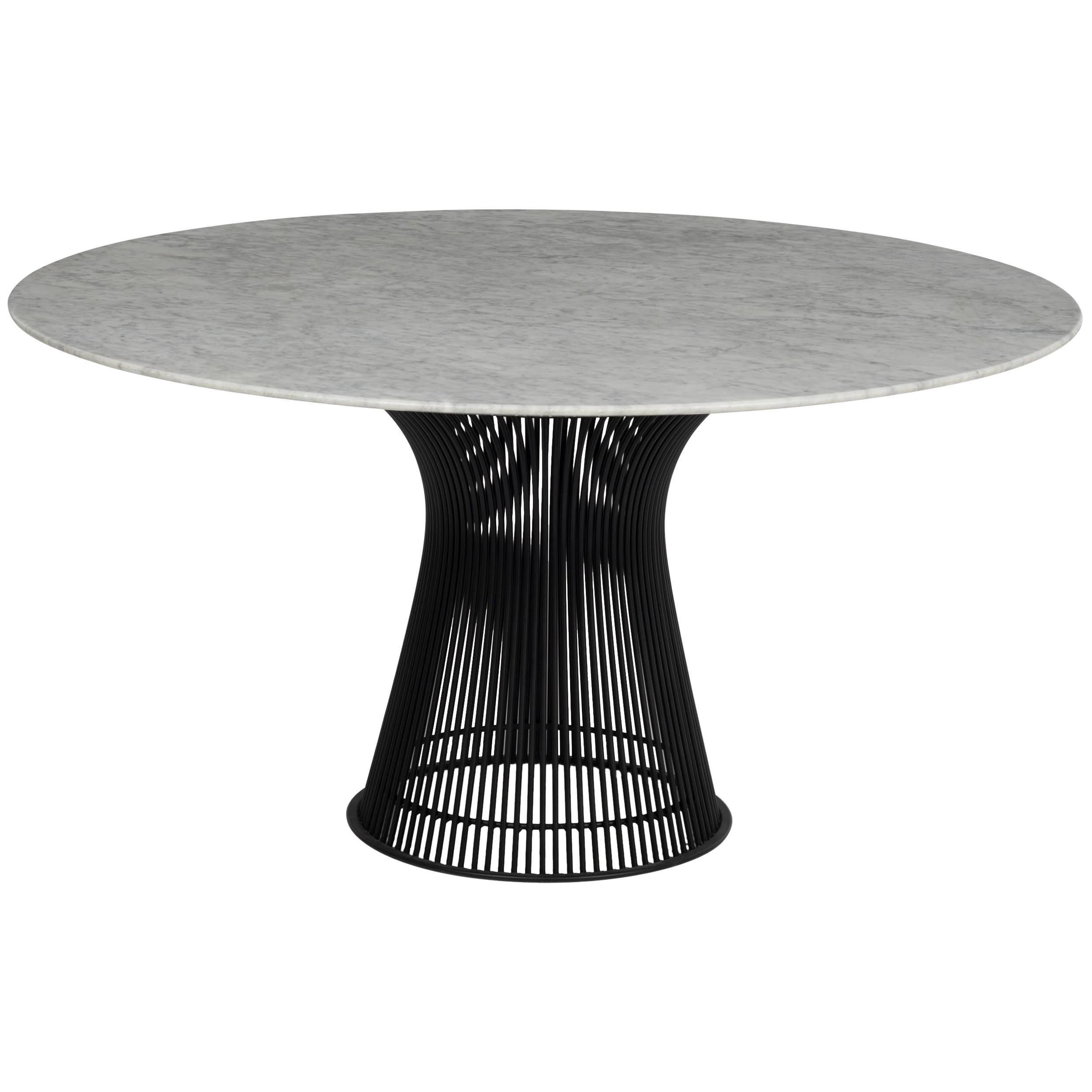 Warren Platner Dining Table, Custom blackened Base Carrera Italian Marble Top