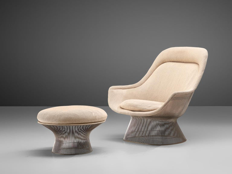 Warren Platner for Knoll, easy chair 'model 1705' and ottoman, steel and beige fabric, United States, design 1966, production later.  This iconic easy chair by Warren Platner is created by welding curved steel rods to circular and semi-circular