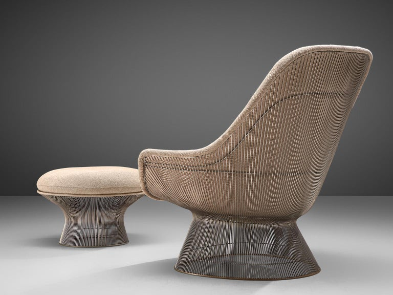 Mid-Century Modern Warren Platner Easy Chair and Ottoman for Knoll For Sale
