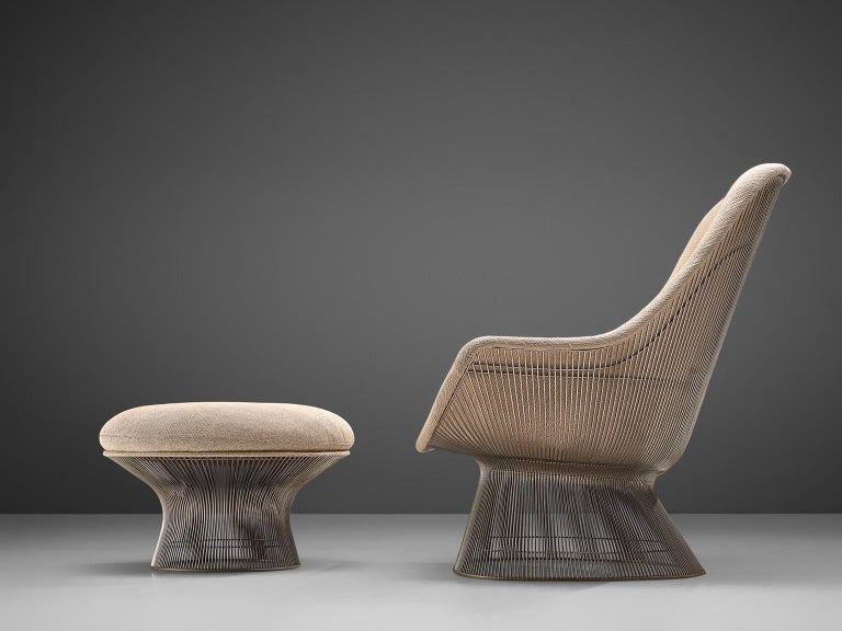 American Warren Platner Easy Chair and Ottoman for Knoll For Sale