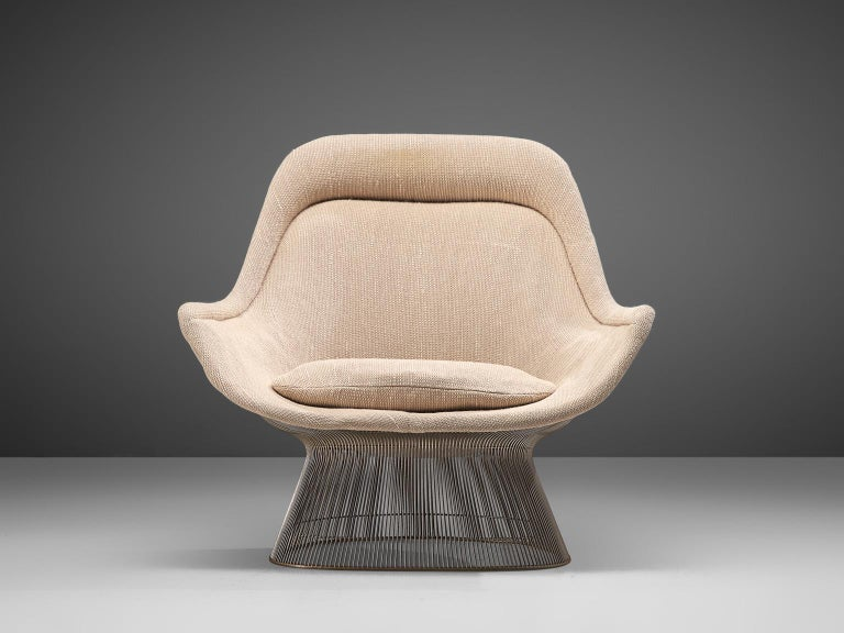 Warren Platner Easy Chair and Ottoman for Knoll In Fair Condition For Sale In Waalwijk, NL