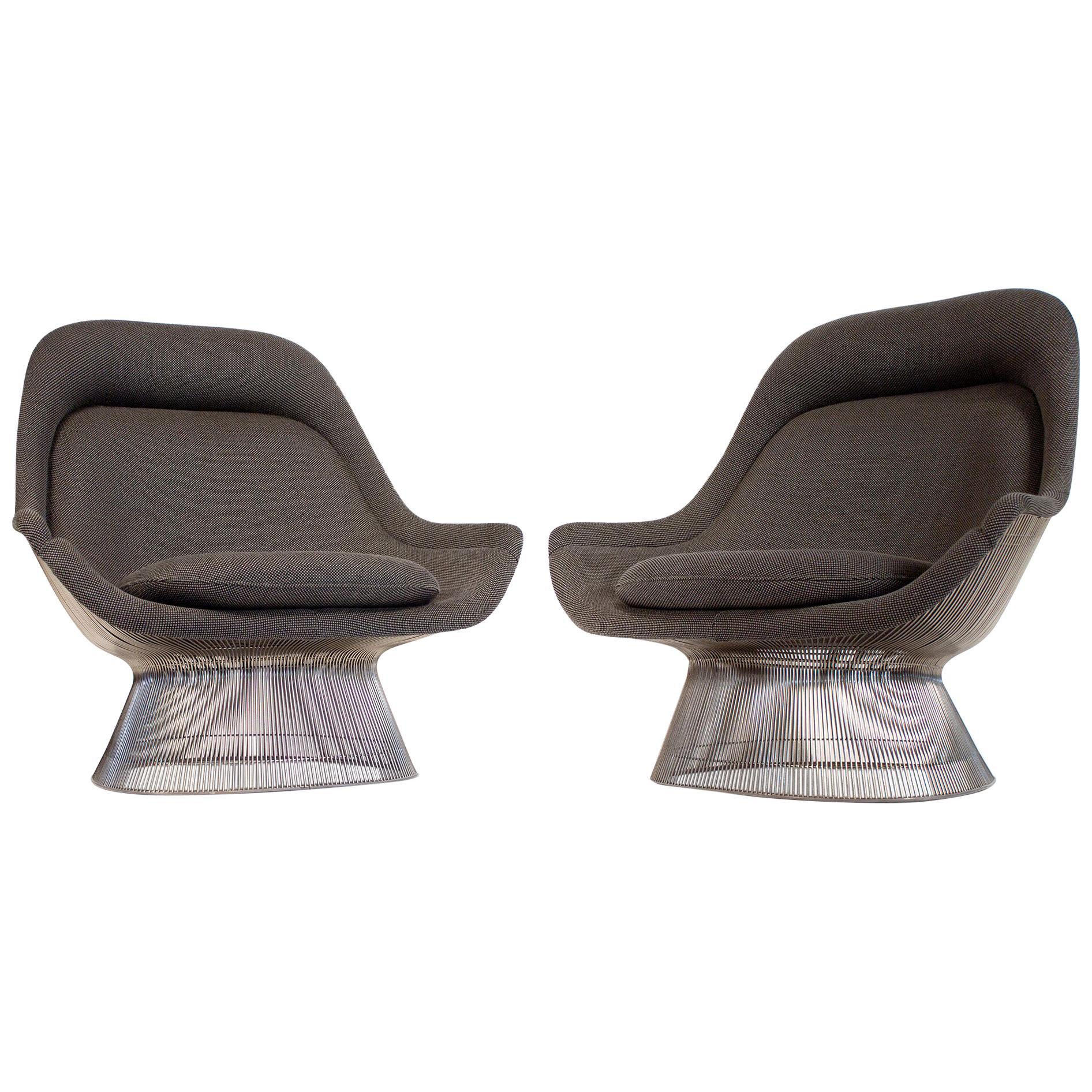 Warren Platner Easy Chair for Knoll in Original Wool High Back Lounge, 1970s
