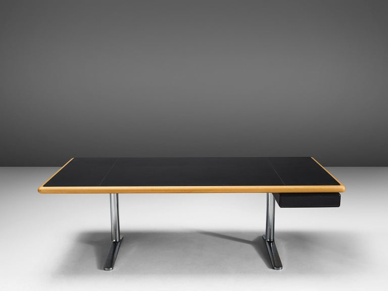 American Warren Platner Executive Desk with Black Leather Top For Sale