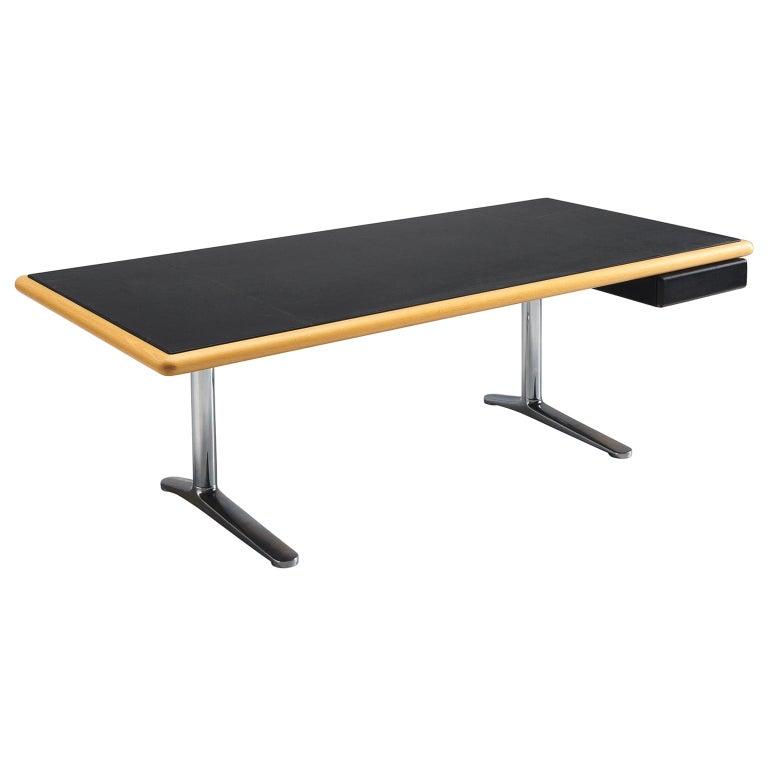 Warren Platner Executive Desk with Black Leather Top For Sale