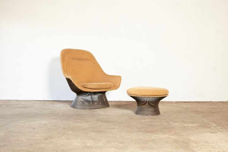 Mid-Century Modern Warren Platner for Knoll Bronze Lounge Chair and Ottoman, USA, 1960s/70s For Sale