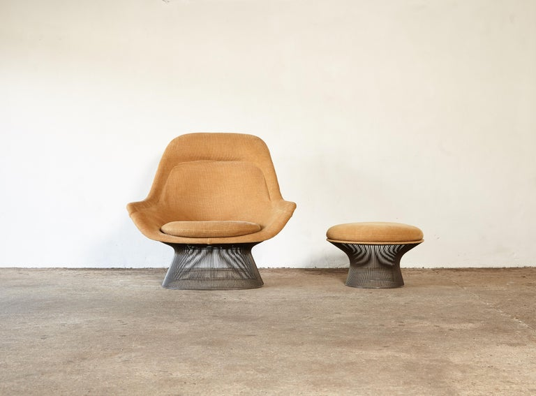 American Warren Platner for Knoll Bronze Lounge Chair and Ottoman, USA, 1960s/70s For Sale