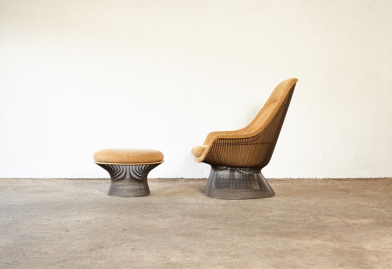 Warren Platner for Knoll Bronze Lounge Chair and Ottoman, USA, 1960s/70s In Good Condition For Sale In London, GB