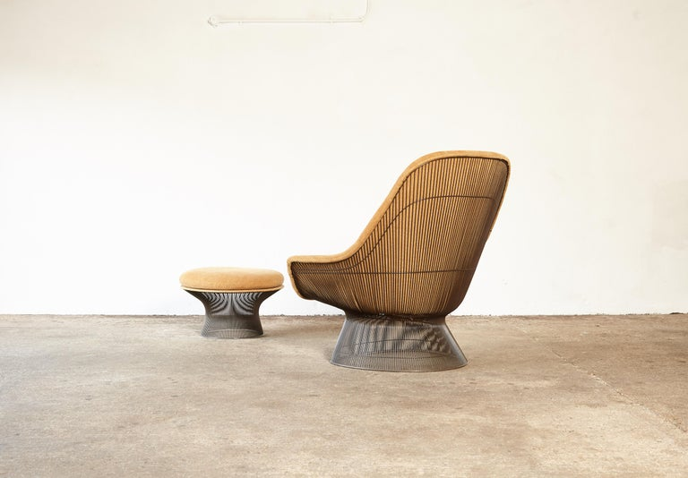 Late 20th Century Warren Platner for Knoll Bronze Lounge Chair and Ottoman, USA, 1960s/70s For Sale
