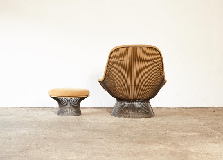 Warren Platner for Knoll Bronze Lounge Chair and Ottoman, USA, 1960s/70s For Sale 1