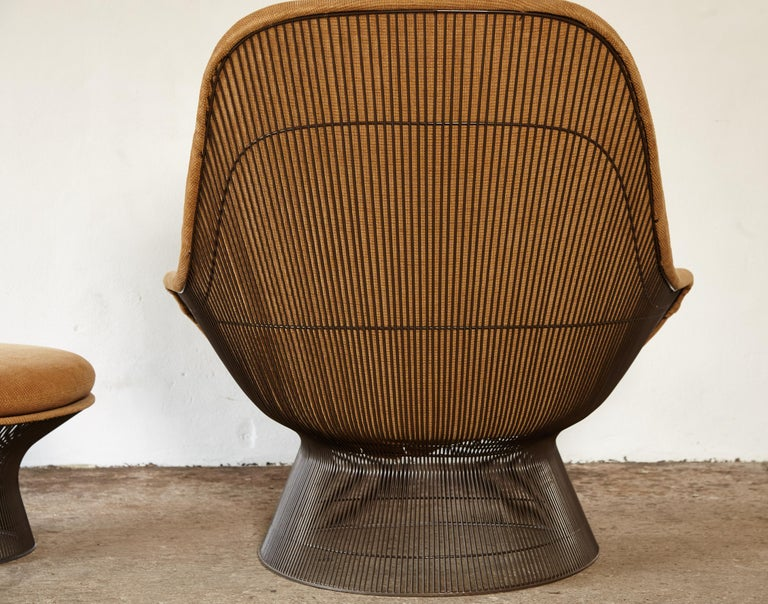Warren Platner for Knoll Bronze Lounge Chair and Ottoman, USA, 1960s/70s For Sale 2
