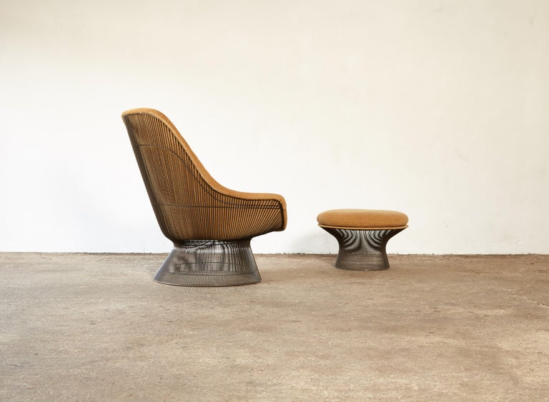 Warren Platner for Knoll Bronze Lounge Chair and Ottoman, USA, 1960s/70s For Sale 3