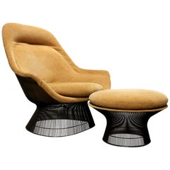 Warren Platner for Knoll Bronze Lounge Chair and Ottoman, USA, 1960s-1970s