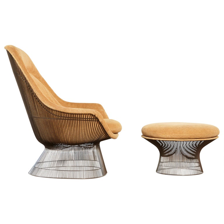 Warren Platner for Knoll Bronze Lounge Chair and Ottoman, USA, 1960s/70s For Sale
