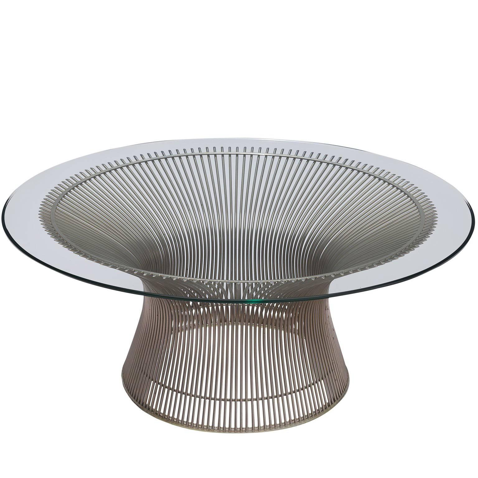 Warren Platner For Knoll Coffee Table With Glass For Sale
