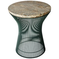 Warren Platner for Knoll Custom Finished Green Base with Stone Top Side Table